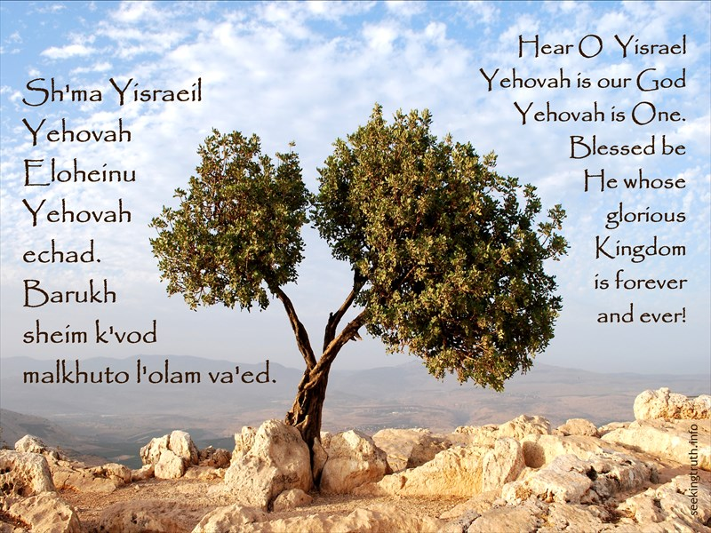 Sh'ma Yisraeil Yehovah Eloheinu Yehovah echad. Barukh sheim k'vod malkhuto l'olam va'ed. Hear O Yisrael Yehovah is our God Yehovah is One. Blessed be He whose glorious kingdom is forever and ever!