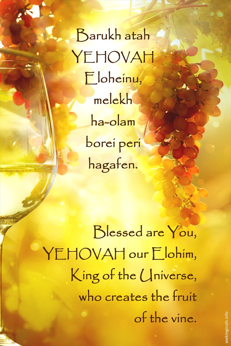 Barukh atah YEHOVAH Eloheinu, melekh ha-olam borei peri hagafen. Blessed are You, YEHOVAH our Elohim, King of the Universe, who creates the fruit of the vine.